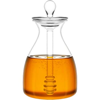 Mkono Honey Pot Glass Honey Jar with Dipper and Lid Cover for Home Kitchen, Clear,14 Ounces