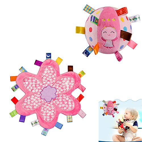 Inchant Soft Stuffed Rattle Ball with Tags Comfort Security Blanket - Gift Set for Baby Girl, Pink Flower Security Blankie, Cute Angel Plush Ball for Toddlers and Kids