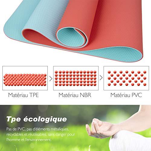 TOPLUS Tapis de Yoga, Tapis Gym - en TPE matériaux Recyclable, Ultra antidérapant et Durable, 183x61x0.6 cm, Non Toxique, Tapis de Sol pour Sport, Fitness (Orange)