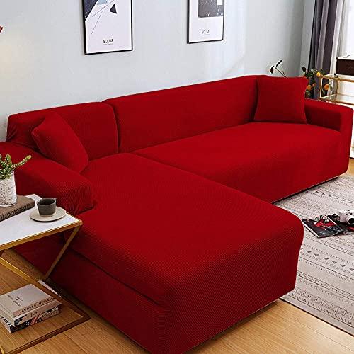 L.TSA Protector seccional de Muebles para sofá, para Sala de Estar Fundas elásticas seccionales Protector de sillón en Forma de L-6_145-185cm, Funda de sofá de Esquina elástica en Forma de L