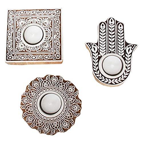 Casa Moro 3 Orientalische Teelichthalter Sahra im Set aus Echtholz handgeschnitzt & handbemalt | mit Fatimas Hand | Marokkanische Designer Kerzenhalter | Geschenk-Idee Muttertag Tisch-Deko | RK210