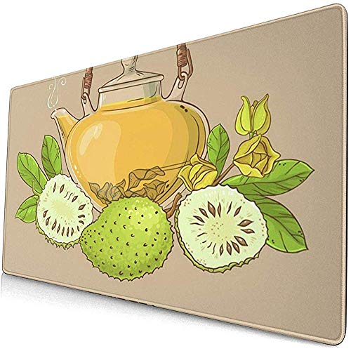 Gaming Extended Mouse Pads mit Rutschfester Gummibasis Grüner Graviola Soursop Tee auf Farbsaft Annona Asia 30X80 cm