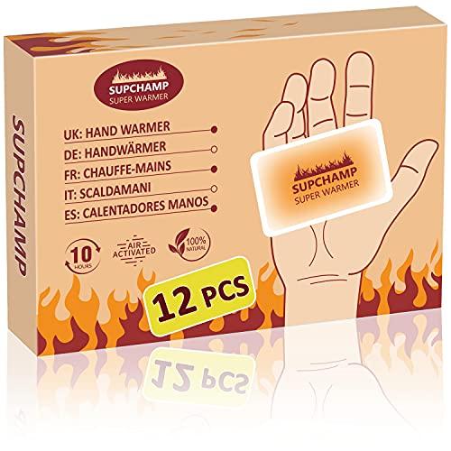 Supchamp Handwärmer, 12 Stück Einweghandschuhwärmer, bis zu 10 Stunden Wärme, Sichere, Geruchsneutrale Handwärmepads für Outdoor-Aktivitäten im Winter