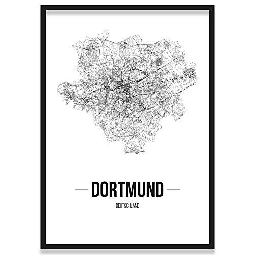 JUNIWORDS Stadtposter, Dortmund, Wähle eine Größe, 30 x 40 cm, Poster mit Rahmen, Schrift B, Weiß