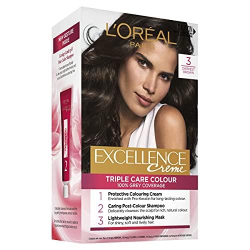 L'Oréal Paris Excellence Creme, 3 Darkest Brown (100 Percent Grey Coverage)