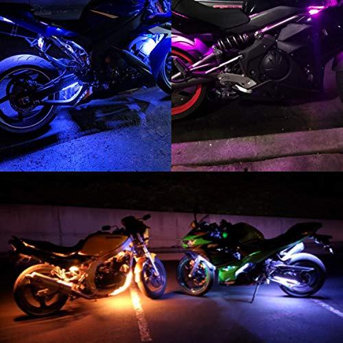 12Pcs Motorcycle LED Light Kit XTAUTO 120 Strips Multi-Color RGB Underglow Underbody Neon Ground Effect Atmosphere Lamp with Wireless Remote Controller for Harley Davidson Honda Kawasaki Suzuki