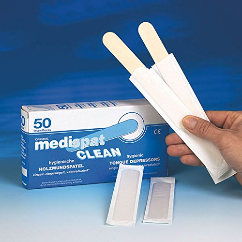 Holzmundspatel 50 Stück - einzeln hygienisch verpackt, eingesiegelt, keimreduziert - splitterfreie Qualität ┇medispat CLEAN - Mundspatel Holz steril