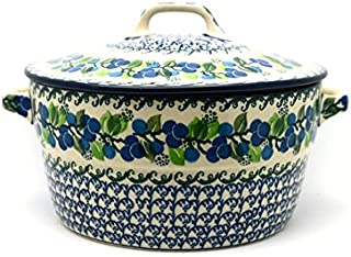 Polish Pottery Baker - Round Covered Casserole - Blue Berries