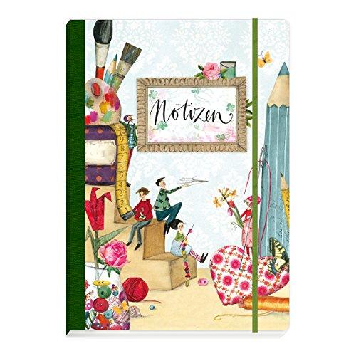 Notitzheft, Notizbuch gebunden mit Gummiband, blanko, 160 Seiten, mit Figuren und Stiften auf der Außenseite, Soft cover, bunt, grün, retro, vintage, gezeichnet