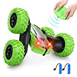 Villana Remote Control Stunt Car, RC Cars 4WD 2.4GHz Stunt Car Double Sided 360° Flips Remote Control Toys for Kids Christmas Birthday Gifts(Green)
