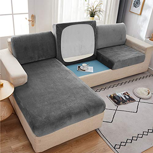 Velvet Stretch Sofa Cushion Cover for Individual Cushion L Shaped Sofa Chaise Longue Sofa Slipcover for 1 2 3 Cushion Couch Soft Furniture Protector (Light Gray,Chaise Longue(Right))