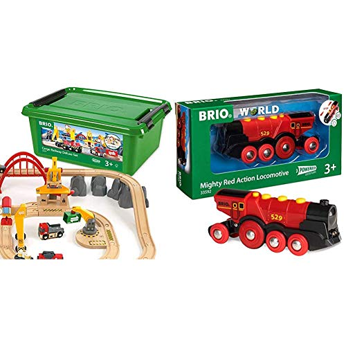 BRIO Cargo Railway Deluxe Set | 54 Piece Train Toy with Accessories and Wooden Tracks for Kids Age 3 and Up & Mighty Red Action Locomotive | Battery Operated Toy Train with Light and Sound Effects