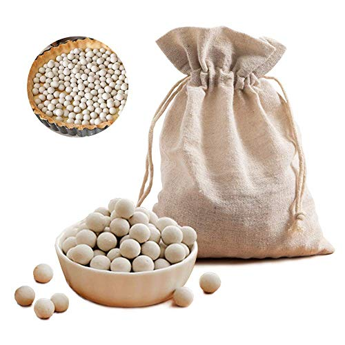 1.1Lb Pie Weights with Cotton Bags,Ceramic Baking Beads 10mm Reusable Pie Crust Weights Natural Ceramic Baking Beans
