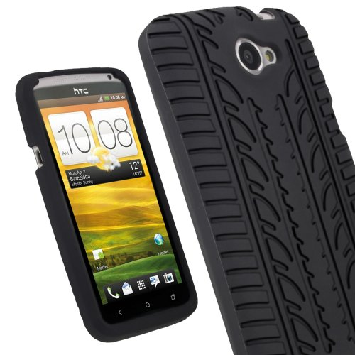 igadgitz Silicone Skin Case Cover with Tire Tread Design for HTC One X S720e Android Smartphone Cell Phone , Screen Protector-Black