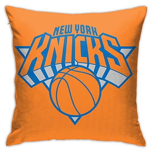 New York Knicks - Fundas de almohada cuadradas de pellets suaves, decorativas, transpirables, elegantes fundas de cojín para sofá dormitorio, 45,7 x 45,7 cm