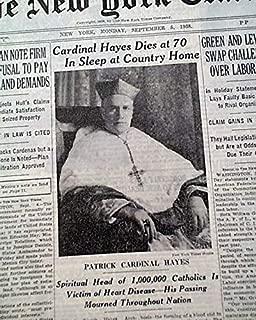 PATRICK JOSEPH HAYES Cardinal Roman Catholic Church DEATH 1938 Old NYC Newspaper THE NEW YORK TIMES, Sept. 5, 1938
