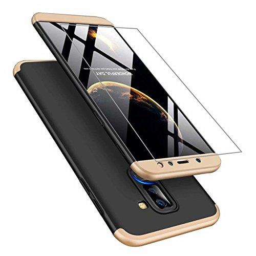 Funda Samsung A6 Plus 2018 Cubierta de 360°Caja AILZH Protección de Cáscara Dura Anti-Shock Anti-Rasguño del Protector Completo del Cuerpo 360 Grados Caso Mate+ Vidrio Templado(Oro Negro)
