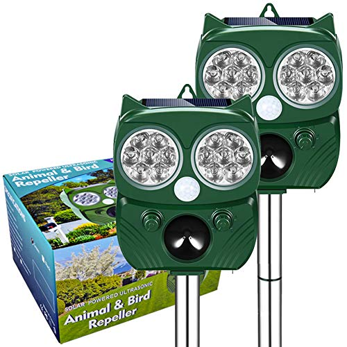 Gardtech 2021 Upgraded UltraSonic Repeller, Animal Birds Pest Repeller, Keep Away Rats, Skunks, Dogs, Foxes, Cats, etc - Solar Powered, Motion Sensor, Waterproof - (Nature Green 2pcs)