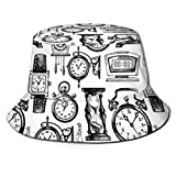 LLALUA Unisex Summer Bucket Fisherman Cap,Hand Drawn Clocks and Watches Illustration Vintage Decorative Pattern,Travel Beach Outdoor Sun Hat