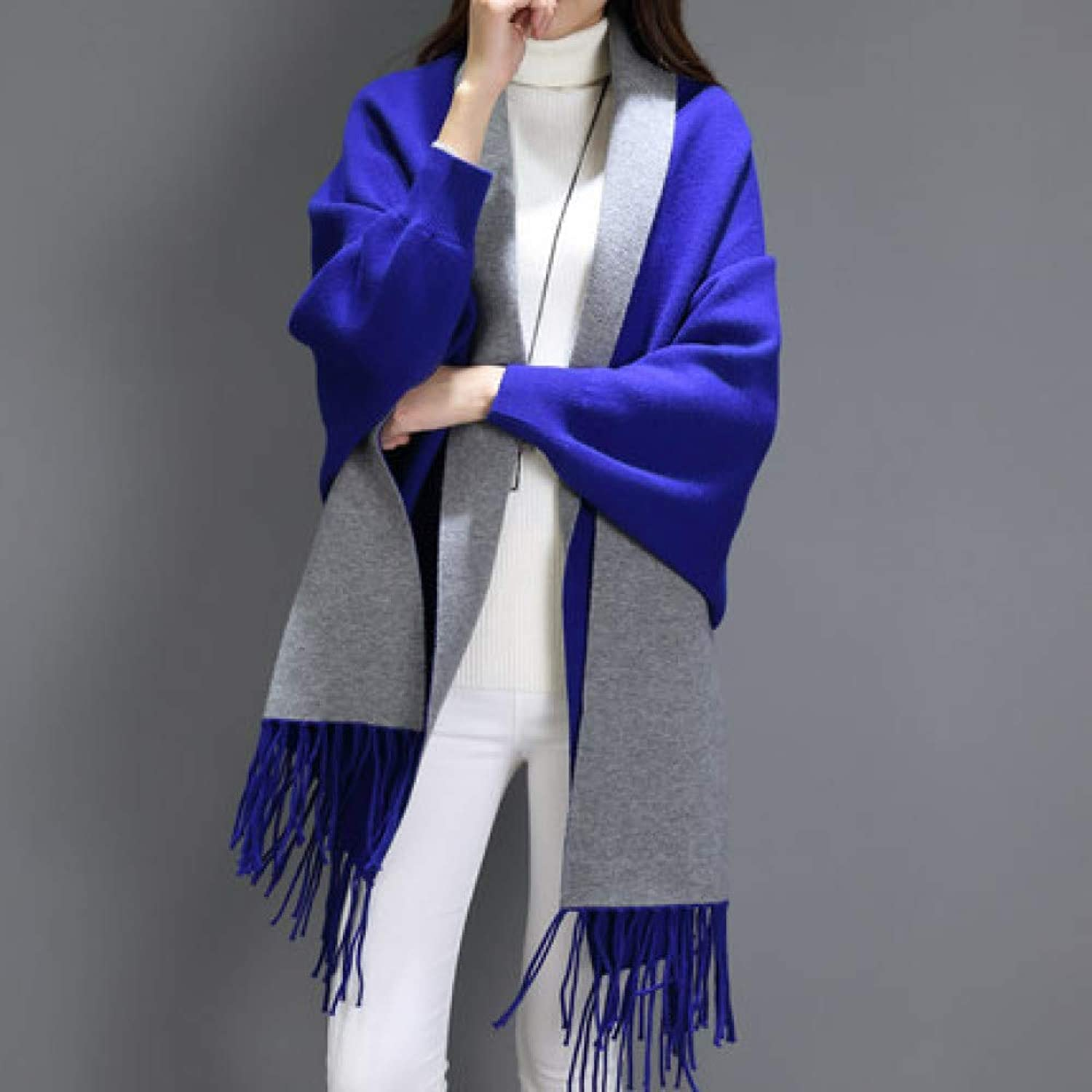 Cloak Cloak with Sleeves, Cashmere Fashion, Shawl, Scarf Dualuse, Thick Autumn and Winter Ladies DoubleSided Solid color Jacket SLR