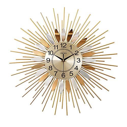 SHISEDECO Metal Sunburst Wall Clock, Modern Silent Battery Operated Star Clock Pop Color Quartz Clocks Decorative Living Room & Bed Room (E)