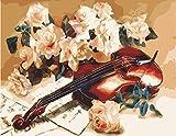 N/C DIY Pintura al óleo Pintura por números Kits para Adultos niños-violín Flores Principiante -con Pinceles y Pigmento acrílico 40x50 cm sin Marco