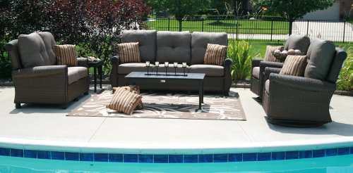 Big Sale The Giovanna Collection All Weather Wicker/Cast Aluminum Patio Furniture Deep Seating Set With Swivel Rocking Chairs