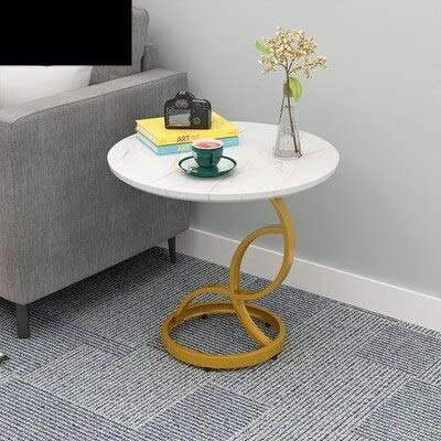 Nordic Iron Wood Coffee Table Furniture Living Room Kitchen Sofa Tables Desk Modern Round Mini Bed Sofa Side Table Home (Color : BM-04)