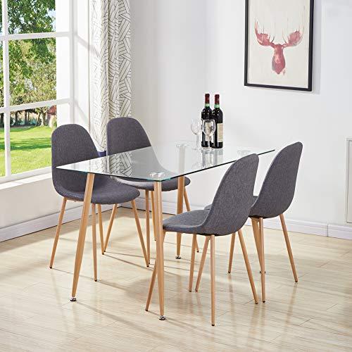 GOLDFAN Moderne Rechteckiger Esstisch Glas mit 4 Stühlen Metallbeine Geeignet für Esszimmer Wohnzimmer Büro Küche, Navy Blau