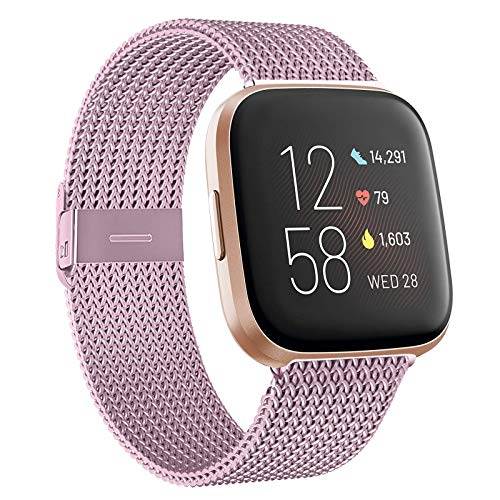 how to get started and stick with a fitbit 2021 HAPAW Bands Compatible with Fitbit Versa/Versa 2, Women Men Metal Stainless Steel Replacement Sport Bracelet Strap Wristbands Accessories Small Large with Magnet Lock for Versa Smartwatch