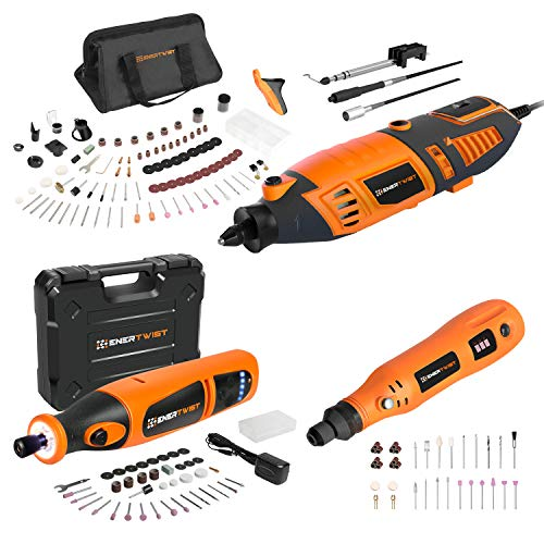 Enertwist 4V & 8V Cordless Rotary Tool and 170W Electric Rotary Tool Combo Kit
