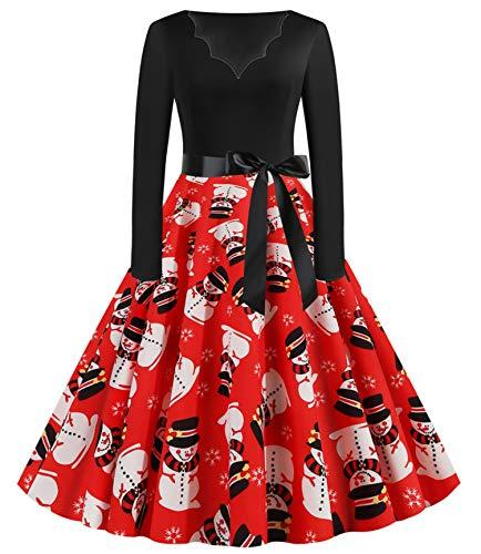 JIER Weihnachtskleid Damen Druchen Swing Festlich Kleid Elegant Abendkleid Vintage Weihnachten Party Kleid Brautkleid Retro Cocktailkleid Rockabilly Minikleid Kleidung (Mehrfarbig 3,XXX-Large)
