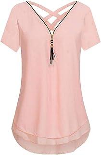 Dubocu Women's Short Sleeve Tops, Chiffon Tank V-Neck Zipper Hem Scoop T Shirts