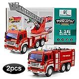 GizmoVine Giocattoli Camion dei Pompieri per Ragazzi Camion per Pompieri a Frizione con Luci e Suoni Giocattoli per Camion per Bambini Piccoli
