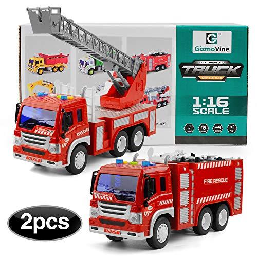 GizmoVine Spielzeug Autos ,2 Stücke Reibung Angetrieben Feuerwehrauto Fahrzeuggruppe mit Lichtern und Sounds für Jungen und Mädchen