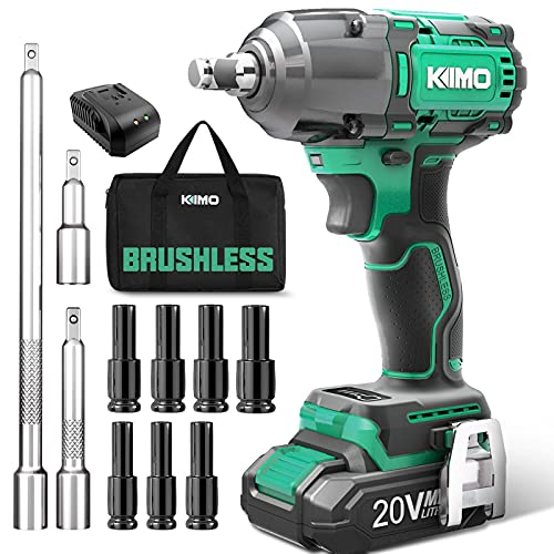 KIMO 20V 1/2 Impact Wrench, Cordless Brushless Impact Wrench Set 300 Ft-lb High Torque 3000 RPM, Li-ion Battery Fast Charger 7 Sockets 3 Extension Bars, Compact Electric Battery Wrench for Car Home