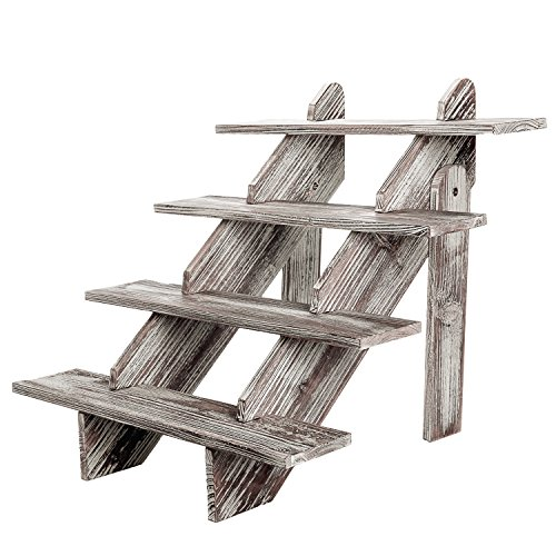 MyGift Cascading 4-Tier Rustic Torched Wood Retail Display Riser, Decorative Merchandise Stand