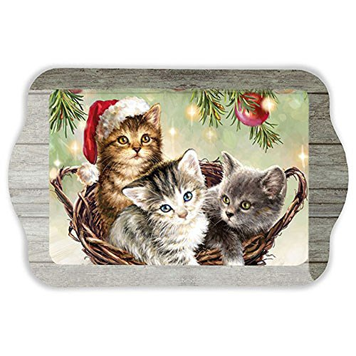 TableTotty melamin tablett Katzen im Korb 15 x 23 cm.