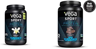 Vega Sport Premium Protein, Vanilla (20 Servings, 29.2 Ounce) with Chocolate(19 Servings, 29.5 Ounce) - Plant-Based Vegan Protein Powder, BC