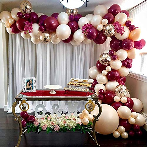 Burgundy Ivory Balloon Garland Kit, 70 Pack Burgundy Ivory Gold Confetti Latex Balloons with 16ft Tape Strip and Dot Glue for Baby Shower Wedding Birthday Girl Party Decorations
