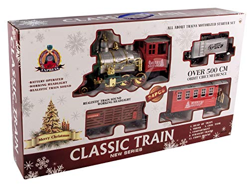 XXL Weihnachtszug mit 530 cm Schienen - Eisenbahn 24-teilig mit Licht und Zug Geräusch - Zug mit Lokomotive und 3 Waggons