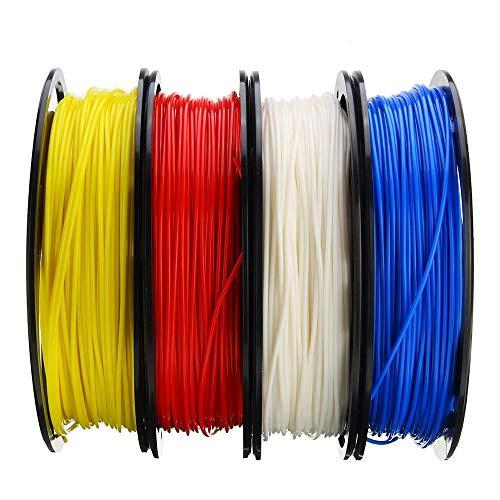 MICEROSHE Filament d'imprimante 3D Pro Bleu + Blanc + Jaune + Rouge Set 200g / Rouleau 1.75mm PLA Filament Compatible avec Reprap d'imprimante 3D (Couleur : Multicolore, Taille : 1.75mm)