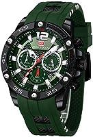 Men Watch, MINI FOCUS Chronograph Waterproof Sport Analog Quartz Watches Silicon Strap Fashion Wristwatch for Men