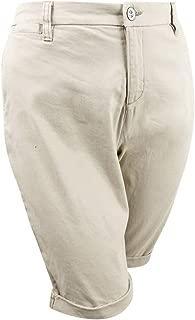 Style & Co. Womens Plus Cuffed Mid Rise Bermuda Shorts Tan 24W