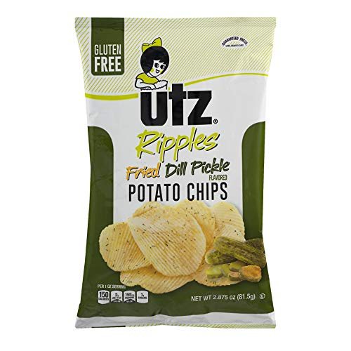 UTZ Ripples Fried Dill Pickle Potato Chips 2.875 oz Bags - Pack of 14