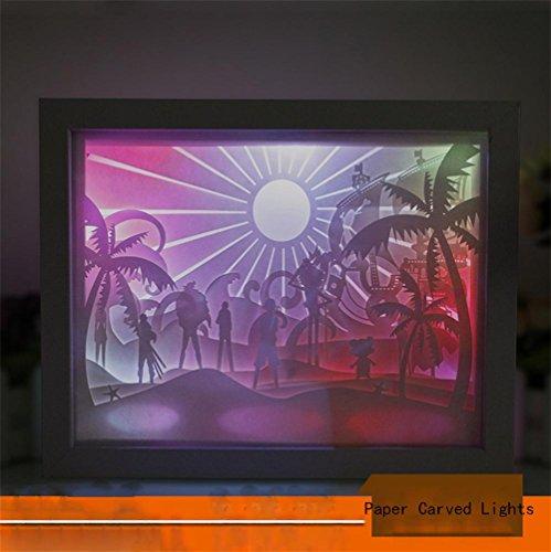 Q&M Papier 3D de découpage de papier de famille de papier découpant la lumière créative de papier-coupe de nuit