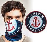 Club of Heroes Maritim Sport Set / 1 Patch + 1 Multifunktionstuch/Aufnäher Aufbügler Sticker gestickt/Schlauchtuch Bandana Halstuch Mundschutz/Segeln Wassersport Nautik Meer Nordsee Ostsee Anker