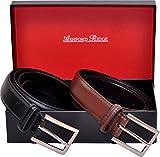Ashford Ridge Hombres 30mm cinturones de cuero marrón y negro Set de Regalo (cintura tamaños 110cm - 120cm)