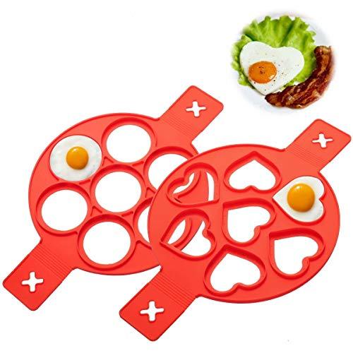Pancake Silicone Stampi, 7 Holes Ring Egg Mold,Strumento di cottura per frittelle con muffin o pancake, stampo per uova fritte (rosso)
