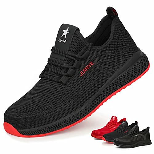 Zapatos de Seguridad Hombre Ligeros Calzado de Trabajo Mujer Punta de Acero Zapatillas Seguridad Transpirables Comodo Negro Rojo 39